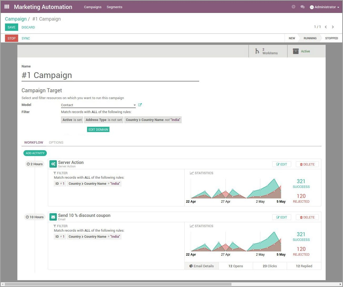 Odoo Marketing Automation Campagne